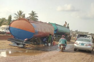 Tanker loaded with PMS capsises on Lagos-Abeokuta Expressway