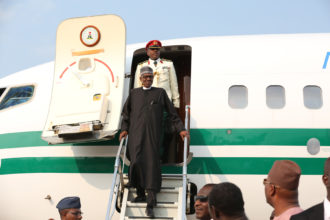 Buhari arrives Nigeria after meeting with Trump
