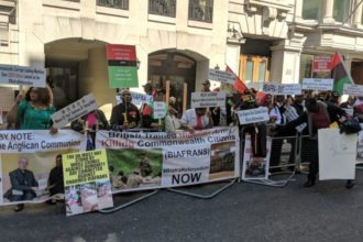 Biafra protesters storm Westminster, demand release of Nnamdi Kanu [Photos]