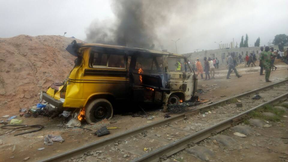 Photos: Two dead, others injured in Lagos train accident