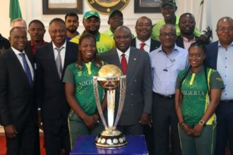 Ambode receives cricket World Cup trophy in Lagos