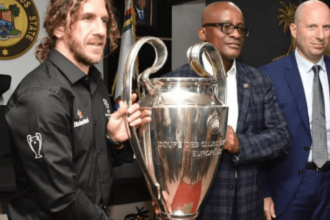Ambode receives UEFA Champions League trophy in Lagos