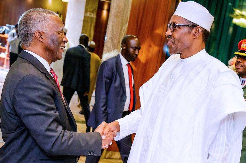 Photo of Buhari hosts Thabo Mbeki in Aso Villa, reinstates commitment to anti-corruption war