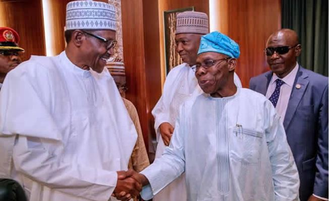 Photo of Buhari salutes ex-President Obasanjo at 84