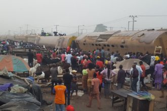 Four dead, one injured as train crushes tricycle in Lagos