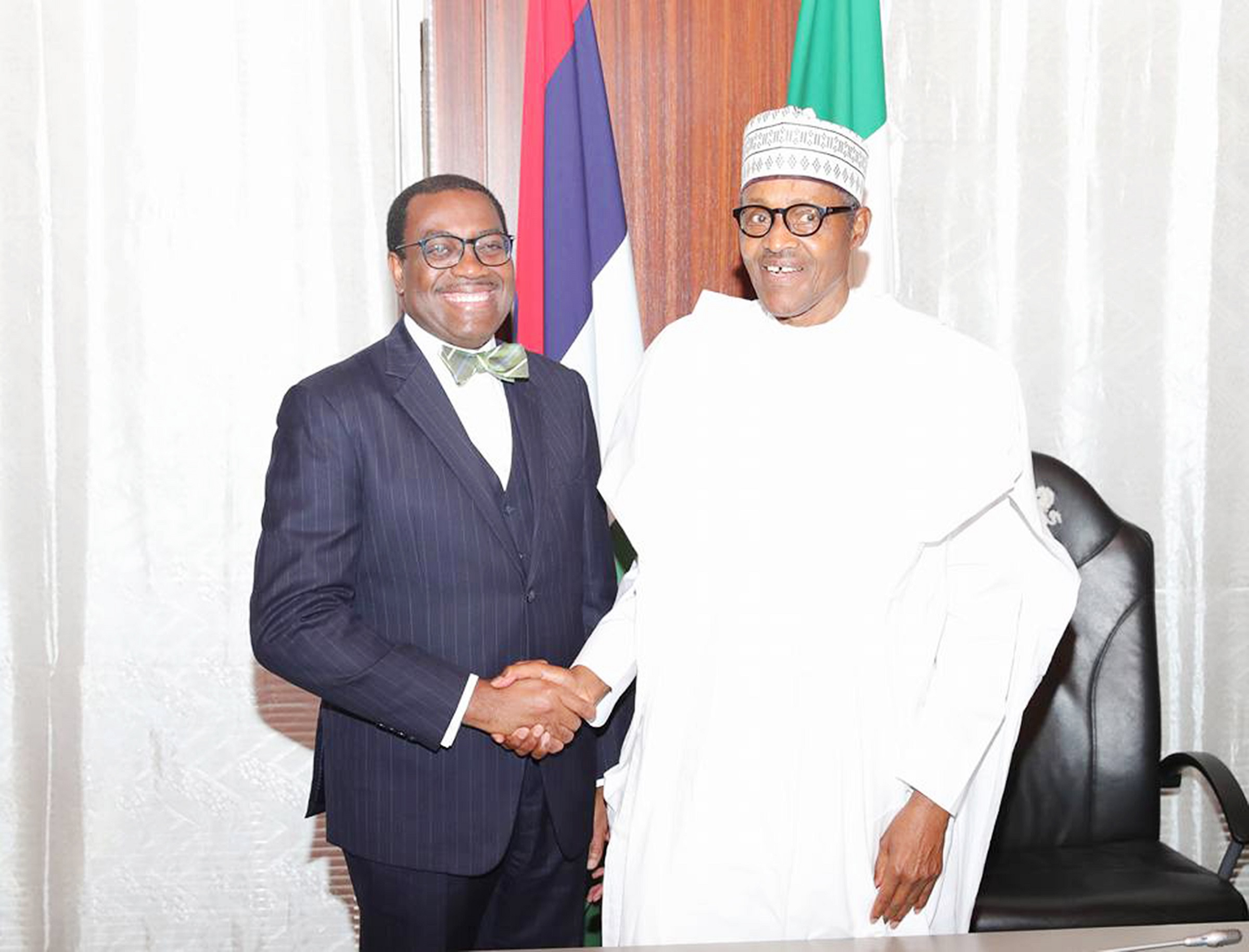 Photo of AfDB presidency: Buhari felicitates with Adesina on second term victory