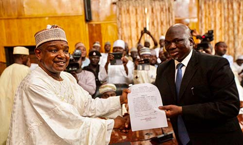 Photo of Gov. Bagudu swears-in Justice Ambursa as Chief Judge of Kebbi