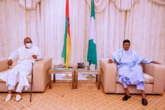 PHOTO: Guinea Bissau's President delivers Madagascan herbal COVID-19 drugs to Buhari in Abuja