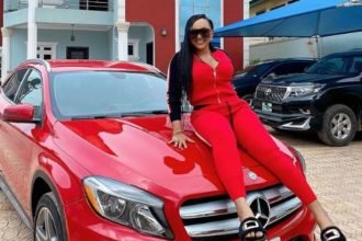 Photo: Nollywood star, Mercy Aigbe adds Mercedez Benz GLA 250 to her collection of cars