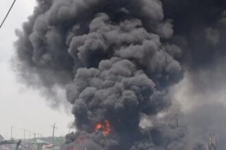 VIDEO: Mosque, houses, shops razed as fully-loaded petrol tanker veers off road, explodes