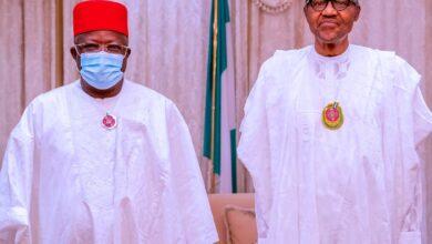 Photo of Defection: APC leadership presents Gov. Umahi to President Buhari at Aso Villa [Photo]