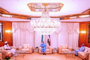 Photos: Ooni of Ife meets Buhari in Aso Rock