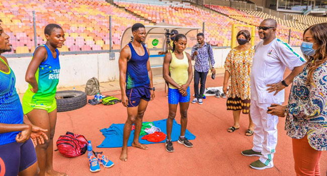 Tokyo Olympics: Sports Minister visits Team Nigeria in training, tells them to 'give this country the best' [Photo]