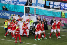 Photo of Euro 2020 match suspended after Denmark's Christian Eriksen collapses on pitch