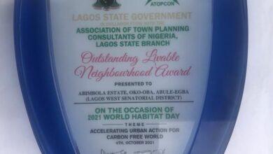 "Photo of Abimbola Awoliyi Estate wins ""Outstanding Liveable Neighbourhood Award"" in Lagos"